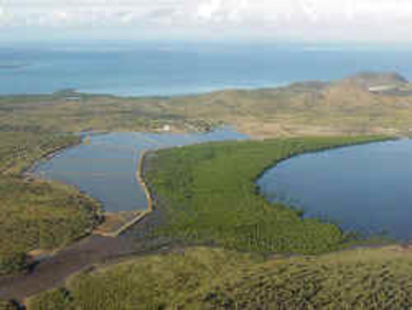 Fish farm in New Caledonia, aerial view